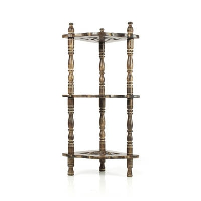 Onlineshoppee Wooden Corner Rack Side Table Carved End Table Shelves