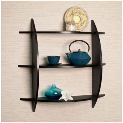 Onlineshoppee Beautiful Black 3 Tier Wooden Wall Shelves/Rack Size LxBxH-20x4x19...