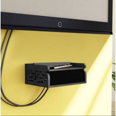 Onlineshoppee Wooden Beautiful Design Set top box Wall Shelf Colour-Black