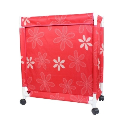 PackNBUY RED Trolley Laundry Basket with Wheels