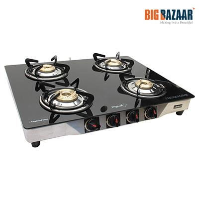 Pigeon Blackline Smart 4 Burner Glass Top Gas Stove