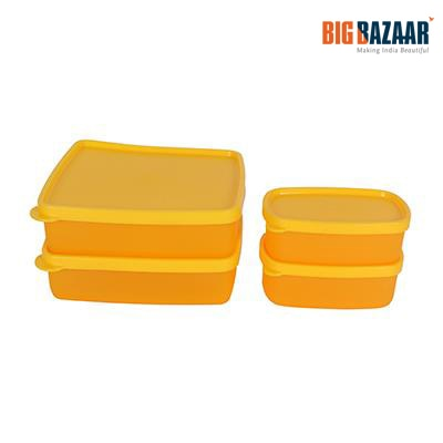 Polyset Magic Seal Yellow Food Container - Set Of 4