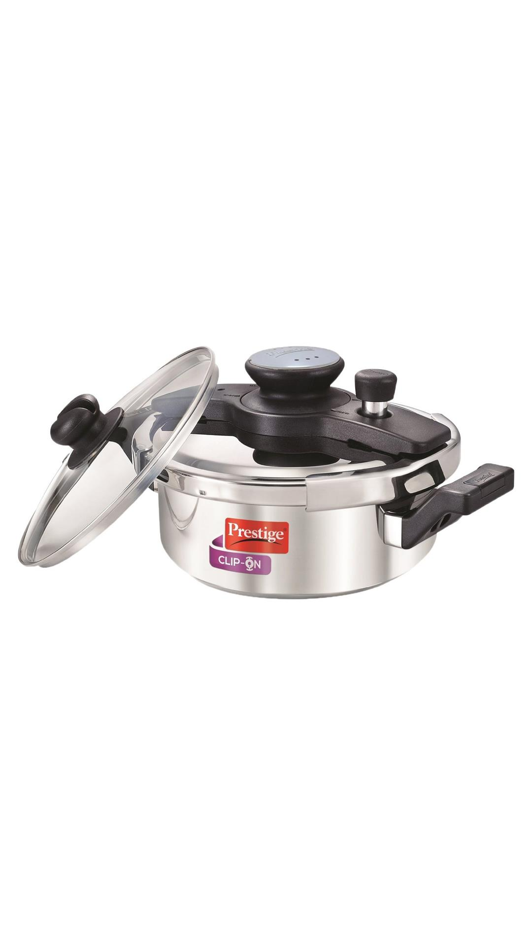 Prestige Clip On Aluminium Pressure Cooker with Glass Lid, 3 Litres, 2-Pieces, Metallic Steel