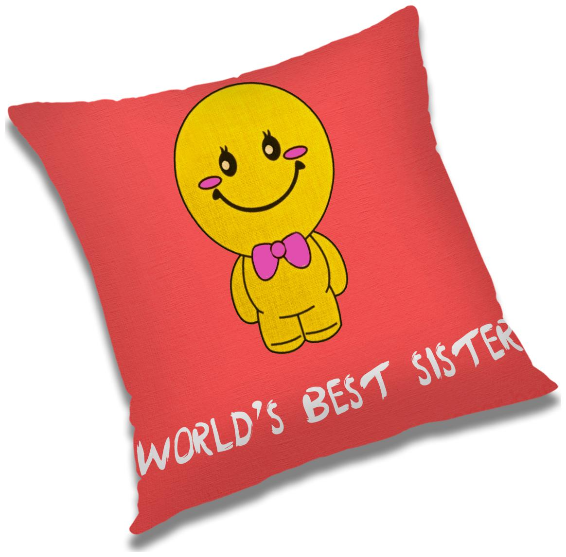 RADANYA World'S Best Sister Printed Cushion Cover Pink,12x12 Inch