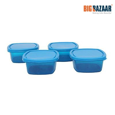 Ratan Golden Food Container (Set of 4) (Blue)