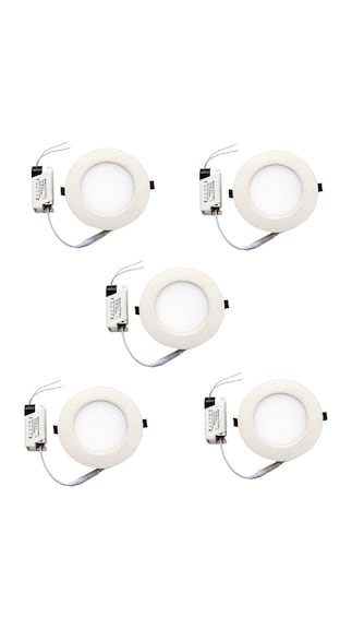 6W Square LED Panel Light (White, Pack of 5)