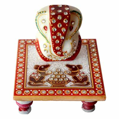 Sajawat Bazaar Traditional Makrana Marble Lord Ganesha With Chowki