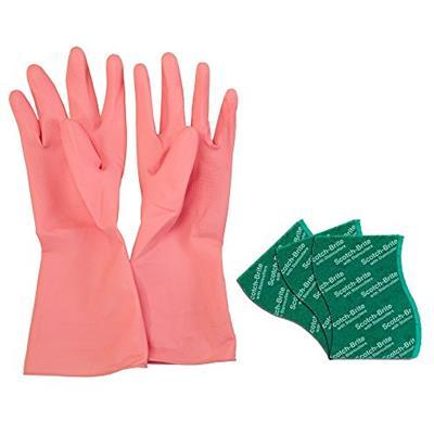 Scotch-Brite Kitchen Gloves Medium Pair (1 unit) & Scrub Pad Large (3 units)