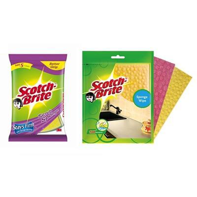 Scotch-Brite Scrub Sponge & Wipe Combo (Scrub Sponge (L) - Set of 2Pcs  Sponge Wipe (L) - Set of 3Pcs)