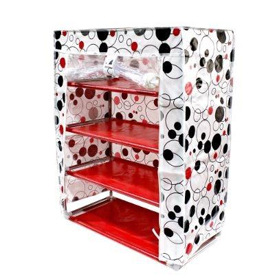 Shopizone Portable Multipurpose Morder 4 Layer Aluminium Shoes Rack Shoes Storage Best Foldable Movable Organizer - White