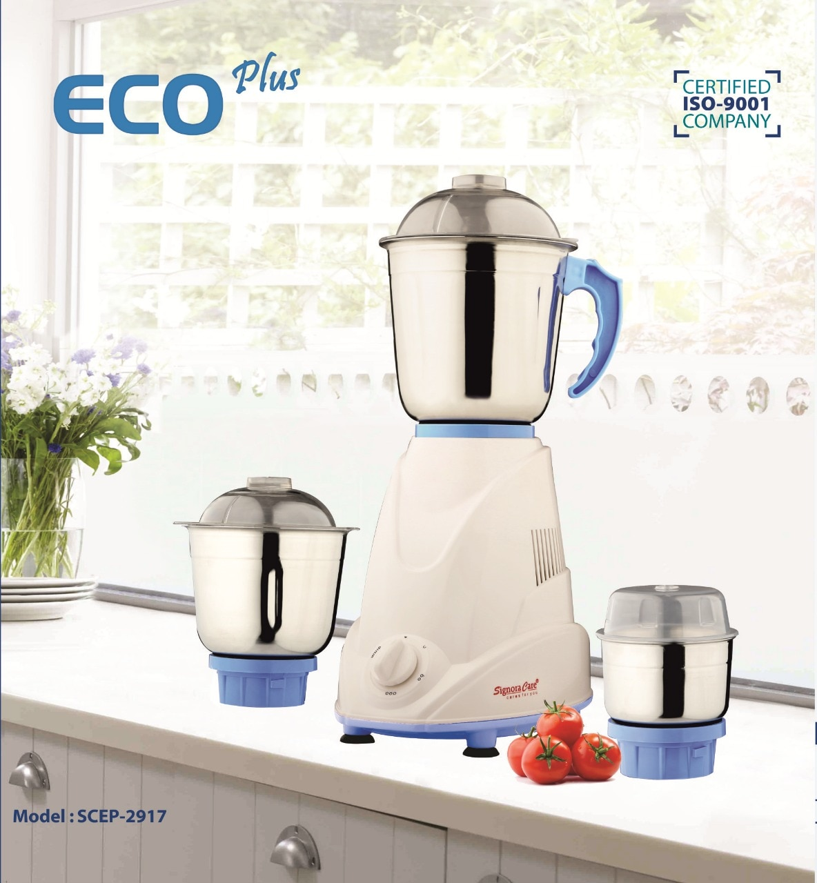 SignoraCare Eco Plus 500 W Mixer Grinder (White & Blue/3 Jar)