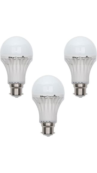 8W B22 LED Bulb (White, Pack Of 3)