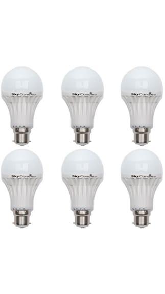 8W B22 LED Bulb (White, Pack Of 6)