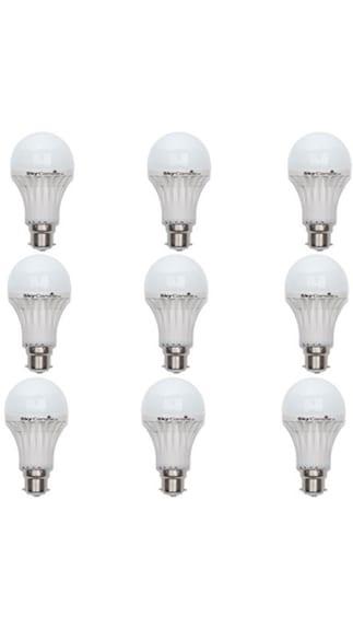 Skycandle-8W-B22-LED-Bulb-(White,-Pack-Of-9)