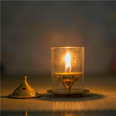 Skycandle Brass Akhand Diya ( Medium )