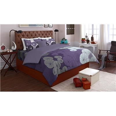 SPACES Allure Violet Cotton Double Bed sheet With 2 Pillow...