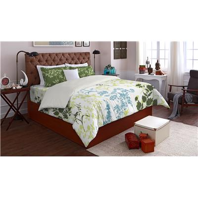 SPACES Allure Lt Green Cotton Double Bed sheet With 2 Pillow Covers