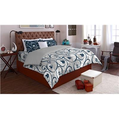 SPACES Allure Blue Cotton Double Bed sheet With 2 Pillow...