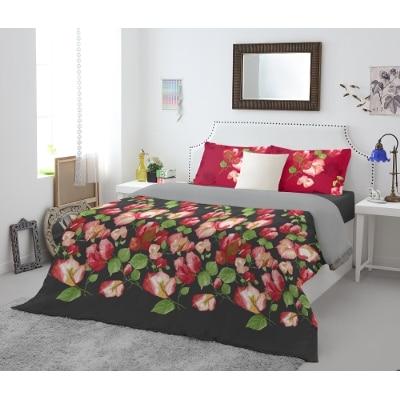 Spaces Atrium Plus Black Cotton Double Bed Sheet With 2 Pillow Covers