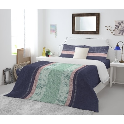 Spaces Atrium Blue Cotton Double Bed Sheet With 2 Pillow Covers