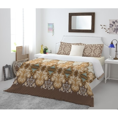 Spaces Atrium Plus Brown Cotton Double Bed Sheet With 2 Pillow Covers