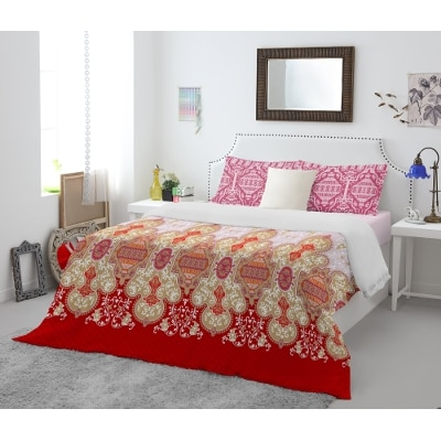 Spaces Atrium Plus Red Cotton Double Bed Sheet With 2 Pillow Covers