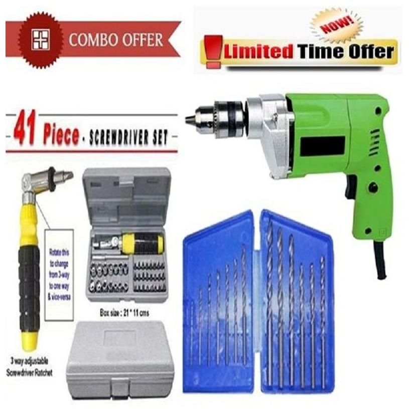 Special Combo Offer! Powerful Drill Machine + 13Pcs Drill Bit Set + 41 Pcs Toolkit Screwdriver - CMD13B41T