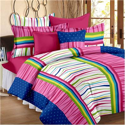 Story@Home Blue 100% Cotton Double Bedsheet With 2 Pillow Covers