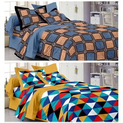 Story@Home Cotton Double Size Bed Sheet With Pillow Cover -...