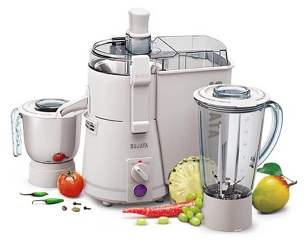 Sujata Powermatic Plus 900W Juicer Mixer Grinder (gray/gold/2 Jar)