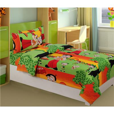 Super India 144 TC Cotton Kids Toons Single bedsheet with one pillow cover