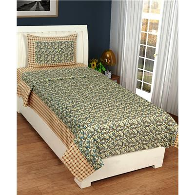 Super India 140 TC Floral Green Single Bed Sheet with one pillow cover (2 pcs)