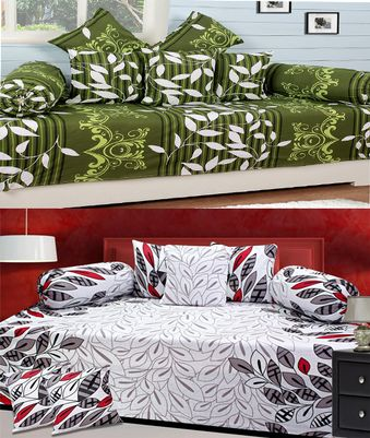 Supreme Home Collective New 100% Cotton 2 Diwan Set( 2 Single Bedsheet(90x60 Inches),4 Bolster Covers(9x28 Inches),10 Cushion Covers(12x12 Inches)