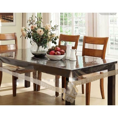 The Home Story Yellow And Transparent 6 Seater Dining Table...
