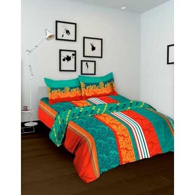 Tomatillo Nature Pure Orange & Blue Cotton Double Bed In Bag - 4 Pcs Set