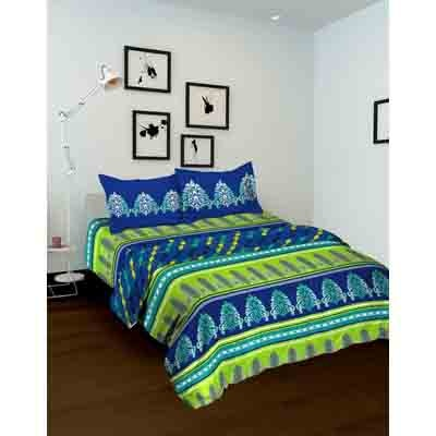 Tomatillo Nature Pure Green & Blue Cotton Double Bed In Bag - 4 Pcs Set