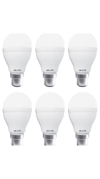 Lite-5w-White-Metal-Housing-LED-Bulb-(Pack-Of-6)
