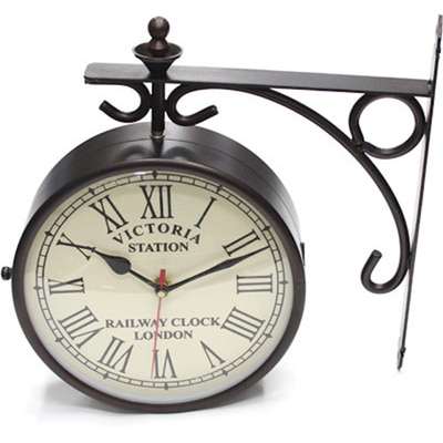 Victoria Station 10 Inch Double Side Antique Dial Analog Wall Clock - 26021134