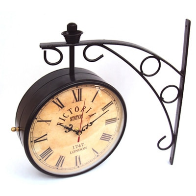 Victoria Station 12 Inch Double Side Antique Dial Analog Wall Clock