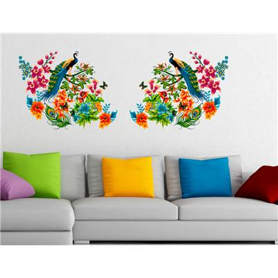 Wall Stickers Peacock Birds on Colourful Branch Leaves Wall Design...