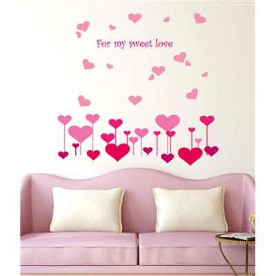 Wall Stickers Hearts in Pink for My Sweet Love Sofa...