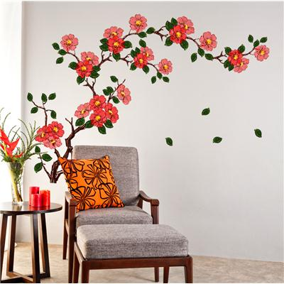 Wall Stickers Floral Branch Sofa Living Room Background Antique Flowers...