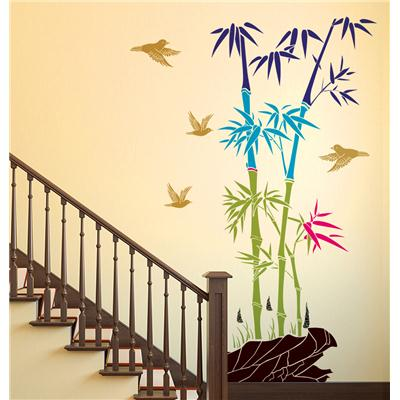Wall Stickers Bamboo Trees Colorful with Rocks and Birds Jungle...