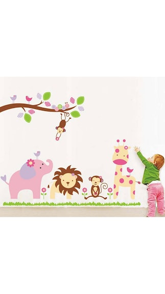 WallTola Baby Cartoon Animal Kingdom Kids Room Wall Sticker