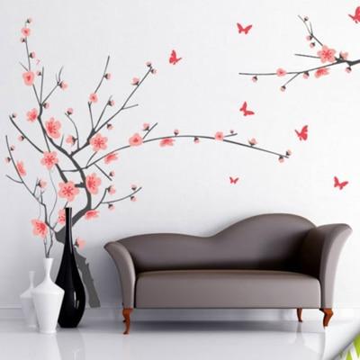 WallTola Grey Branch With Flowers Wall Sticker