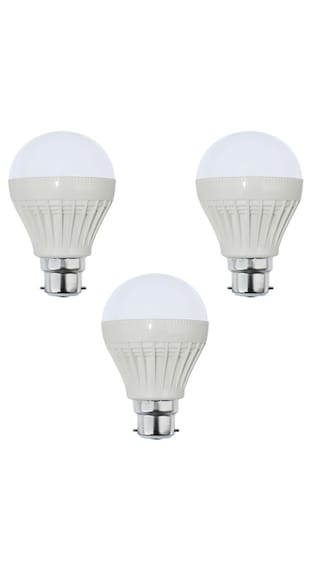 9W Plastic White LED Bulb (Pack of 3)