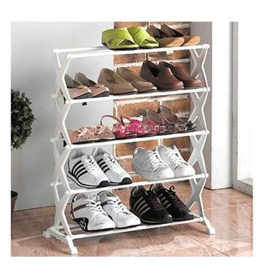 Shopper52 5 Tier Foldable Stainless Steel Shoe Rack