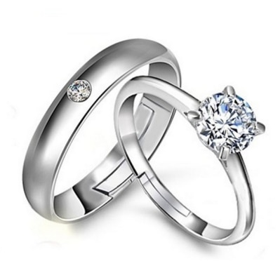 925 Silver Plated Solitaire Couple Ring (Adjustable Size)