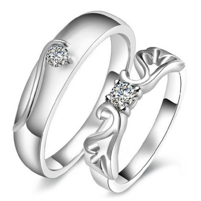 925 Silver Plated Queens Crown Solitaire Couple Ring (Adjustable Size)