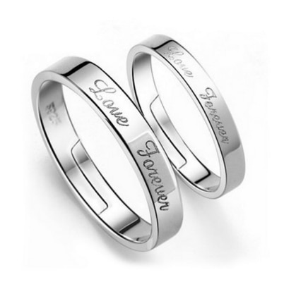 925 Silver Plated Love Forever Promise Couple Ring (Adjustable Size)